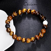 White Turquoise & Tiger Eye Natural Beads Bracelets Energy S...