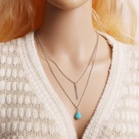 Vintage design Turquoise Bead Pendant Necklace Women With Go...