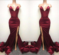 Сексуальное африканское Backless Front Left Split Prom Party Dress 2017 Милая без рукавов Sweep-Train Burgundy Pageant Evening Gowns