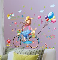 3D Wall Sticker Fashion Girl Color Balloon Bike PVC Stickers...