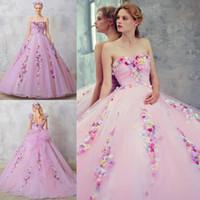 Rosa 3D Applique Ball Gown Quinceanera Abiti senza spalline Collo senza spalline con cinghie rimovibili perline Abiti da ballo in tulle Lace-up Back Sweet 16 Dress