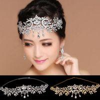 Vintage nupcial plateado rhinestone crystal teardrop accesorios para el  cabello moda nupcial joyería de la boda 83578046b55a