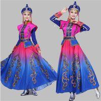 Mongolia etapa del traje ropa del funcionamiento de la danza de la falda del vestido de la danza popular de Mongolia traje de la danza de la minoría ropa de la ropa