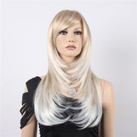 Long Curly Beige Ombre Blonde Synthetic Hair Wigs Bang Wig f...