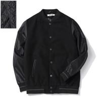 Al por mayor- Los hombres de gran tamaño chaqueta de béisbol 6xl 5xl 4xl manga de cuero de algodón acolchado negro otoño invierno