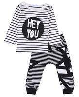 Baby kids girls boys clothing set boutique black stripe trac...