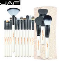 Jaf Studio 15 Peça Kit Escova de Maquiagem Super Macio Titular de Couro Pu Caso Make Up Brush Set Cosméticos Ferramentas de Beleza J1504c-W