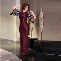 Gorgeous Vintage Pailletten Mermaid Abendkleider bodenlangen Rücken Split Stickerei halbe Hülse formale Abschlussball-Kleider Myriam Fares Party Kleid