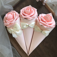 Paper Cone Shape favor holders wedding candy Boxes with Rose...