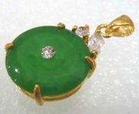 Großhandel billig 2 Farbe! schöne grüne Jade Perle segnen 18KGP Anhänger Halskette freie Kette