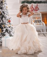 2017 New Flower Girls Dresses For Weddings Illusion Neck Lac...