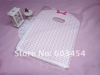 100 pcs NEW LOTS PINK DOT TOTE SHOPPING PLASTIC Jewelry Pack...