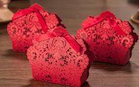 2018 Lazer Kesim Hollow Düğün Hediye Kutusu için Içi Boş Şeker Kutusu Şeker Tatlı Çikolata Parti Favor Şerit Çanta ile Doldurun
