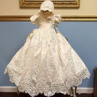 Infantil Do Bebê Meninas Baptismo Vestido Qualquer Tamanho Branco Marfim Lace Tule Catedral Batismo Vestido Com Capô