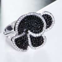 Great Product Flower Big ring Pave Jet and Clear cubic zirconia stones Large Party Rings designer jewelry fast delivery