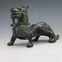 Collection Folk Art Vintage Rare Old Chinois Bronze Tour manuel Sculpté Flying Dragon Statues X0155