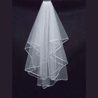 Zwei Schichten Brautschleier weißen Tüll kurze Braut Brautschleier mit Kamm Band Rand Brautaccessoires 2018 am billigsten