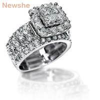 Newshe 2,2 Carati Cross Zirconia solido 925 Sterling Silver Halo Wedding Ring Set gioielli mozzafiato per le donne Spedizione gratuita wzw