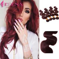 Paketi 10inch-30inch başına Yeni Popüler Brezilyalı Virgin Saç Vücut Dalga Saç Uzantıları Rengi 99J İnsan Saç Atkı Dokuma Burgundy 4 Paketler