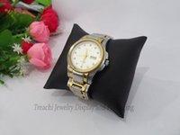 Black / White PU-Leder Schmuck Display Ständer Kissen Kissenhalter Armband Armreif Watch Rack Organizer 9 * 9 cm Medium Größe
