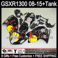 negro brillante 8gifts para SUZUKI Hayabusa GSXR1300 08 15 GSXR-1300 14MY64 GSXR 1300 GSX R1300 08 09 10 11 12 13 14 15 kit de carenado negro brillante