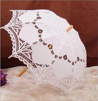 48 cm mango largo blanco hecho a mano del arte de la boda festoneado borde bordado Pure Cotton Lace paraguas de la boda sombrilla romántica fotografía nupcial