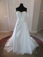 Gorgeous Chiffon A Line Wedding Dress Sweetheart Beaded Ruch...