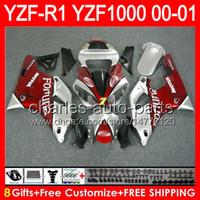 8 geschenke Körper Für YAMAHA YZF R1 00 01 YZF1000 YZF-R1 00-01 Dunkelrot Fortuna 91NO42 YZF 1000 YZF-1000 YZF R 1 YZFR1 2000 2001 Dunkelrot Verkleidung