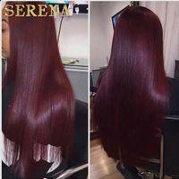 Mink Mongol Virgin Hairs Feixes de Cabelo Humano Em Linha Reta 3 Pcs 99J Feixes Vermelhos Feixes Ombre Feixes de Cabelo Brasileiro Barato Extensões de Cabelo