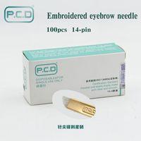 100 шт. PCD 14-контактный перманентный макияж брови татуаж лезвия Microblading иглы для 3D вышивка руководство татуировки ручка Ма