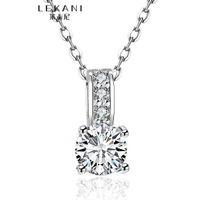 여성을위한 100 % 순수 925 스털링 실버 펜던트 목걸이 1.5 코네티컷 소나 CZ 다이아몬드 약혼 목걸이 솔리드 실버 웨딩 목걸이