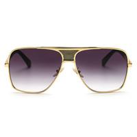 Peekaboo Brand new 2017 steampunk quadrat sonnenbrille männer flat top metall gold europäischen amerikanischen retro sonnenbrille luxus männlich