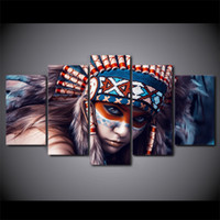 5 Pcs Set Framed HD Printed Girl Feather Modern Wall Picture...