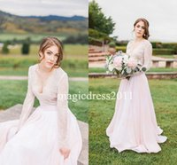 Romantic Blushing Wedding Dresses with Long Sleeve 2017 A- Li...