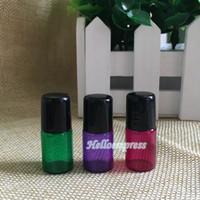 MEJOR venta de 2 ml Rollo de cristal vacío colorido en botellas para perfume 2 ml Rollo de vidrio de aceite esencial en botellas con gorra negra