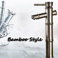Großhandel Und Einzelhandel Gebürstetem Nickel Bad Wasserhahn Bambus Stil Sinkle Griff Loch Schiff Sinken Mischer Tap Montiert