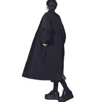 Womens Source à fourrure longue manches longues européennes et américaines Big Brand Long lâche Black Windbreaker Long Trench-manteau pour femme Spring hiver