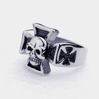 316L Stainless Steel Silver Black Cross Hell Skull Biker Men...