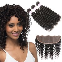Brazilian Deep Wave 3 Bundles With Lace Frontal Closure Mala...