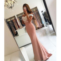 Hot Sale!Mermaid Prom Dress 2019 White and Pink Off the Shou...