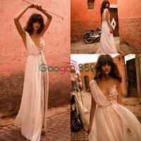 Liz Martinez Sexy Boho Split Brautkleider 2019 V-Ausschnitt durchsichtigen Chiffon Blume Perlen A-Line Strandhochzeit Vestido de Noiva Praia