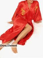 Wholesale- Fashion Red Chinese Women's Silk Satin Robe Embroidery Kimono Bath Gown Dragon S M L XL XXL XXXL S0010
