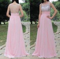 2016 benutzerdefinierte Chiffon Ballkleider Real Image Sexy Sheer Bling Perlen Kristall Jewel Neck Elegante Erröten Rosa A Line Illusion Pageant Kleider