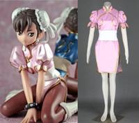 Street Fighter Chunli cosplay rosa vestito delle donne costumi di Halloween