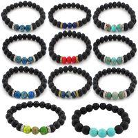 Natural Lava Pedra Braceletes Difusor de Óleo Essencial 7 Chakra Yoga Energia Stretch Bracelete Pulseira Para Homens Mulheres Jóias Presente Kimter-B348S F