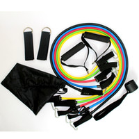 Latex Resistance Exercise Band Ropes Workout ABS Tube Set Gy...