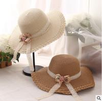 الفتيات قبعة الصيف الزهور الدانتيل القش القبعات الطفل الشمس الظل للكروشيه الأطفال واسعة حافة القبعات 2017 حار بيع الشحن شاطئ sunhats T2305