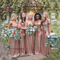 Hochwertige lange Pailletten funkeln Brautjungfer Kleid Rose Gold Mutterschaft Trauzeugin Kleid Hochzeitsgast Kleid nach Maß plus Größe