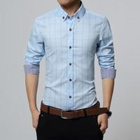 Camisa de Nueva otoño de la manera hombres de la marca de ropa de los hombres Slim Fit de manga larga a cuadros de algodón ocasional de la camisa T Social más el tamaño M-5XL