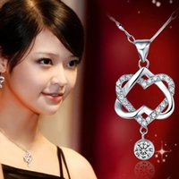 Hot selling Silver Plated Women Double Heart Pendant Necklac...
